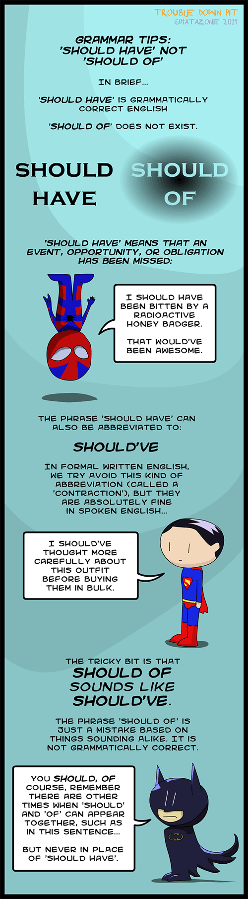 Grammar tips: 'should have' not 'should of' (with superheroes)