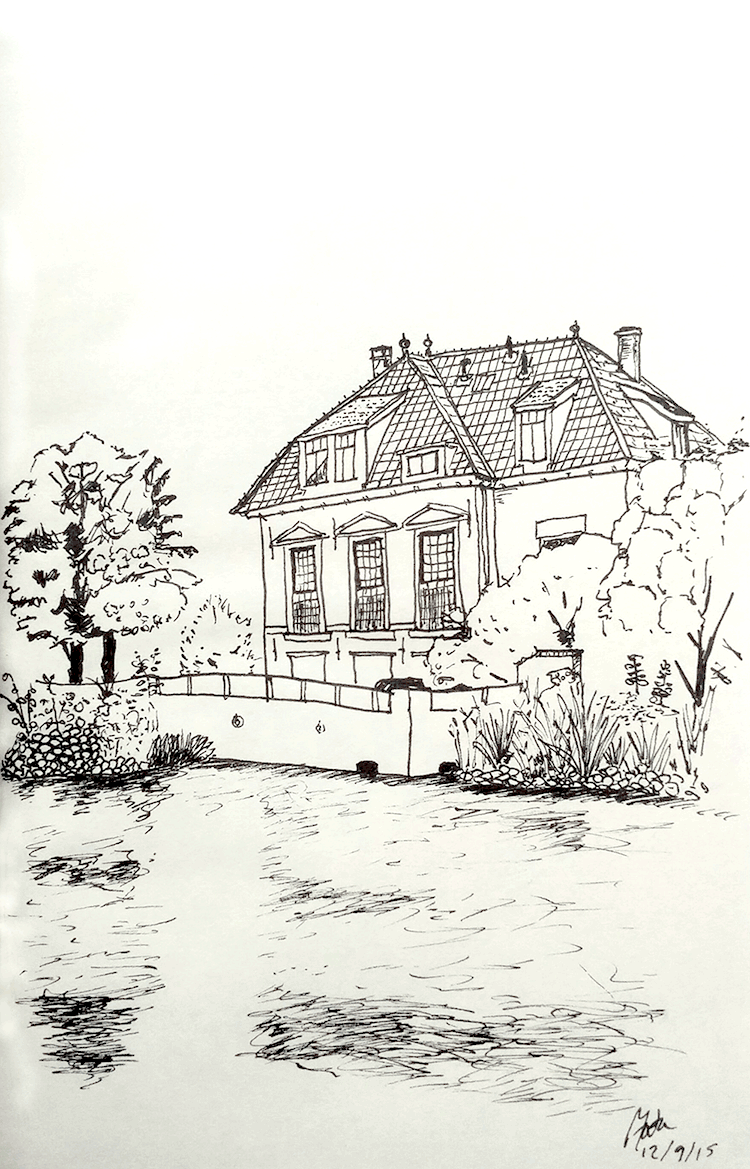 Drawing: a grand Dutch house