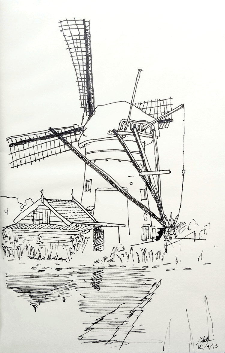 Drawing: windmill in the Kinderdijk