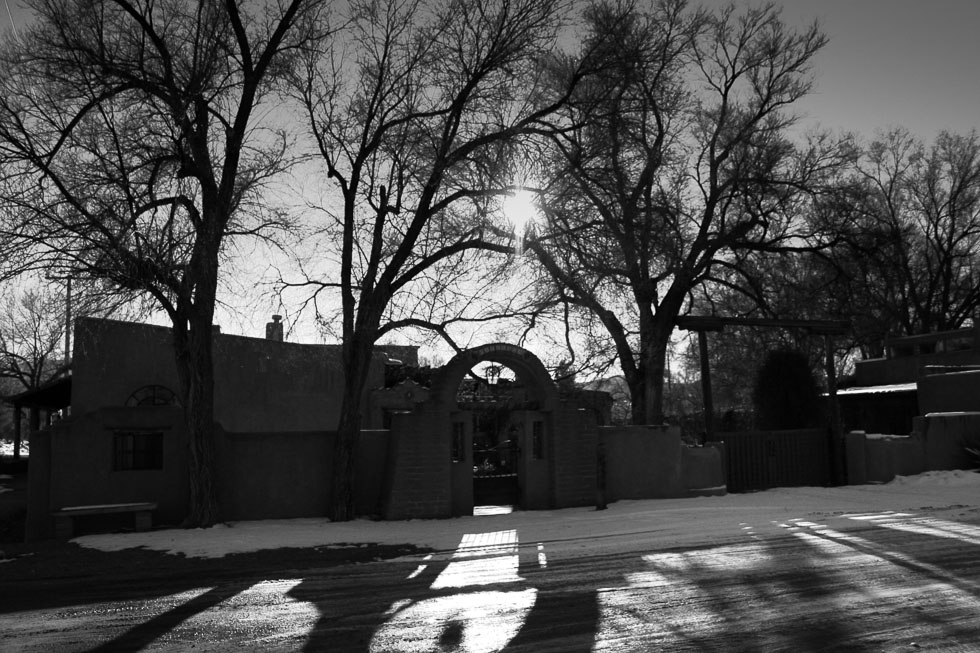 Photo: Long shadows on snow in Los Cerrillos