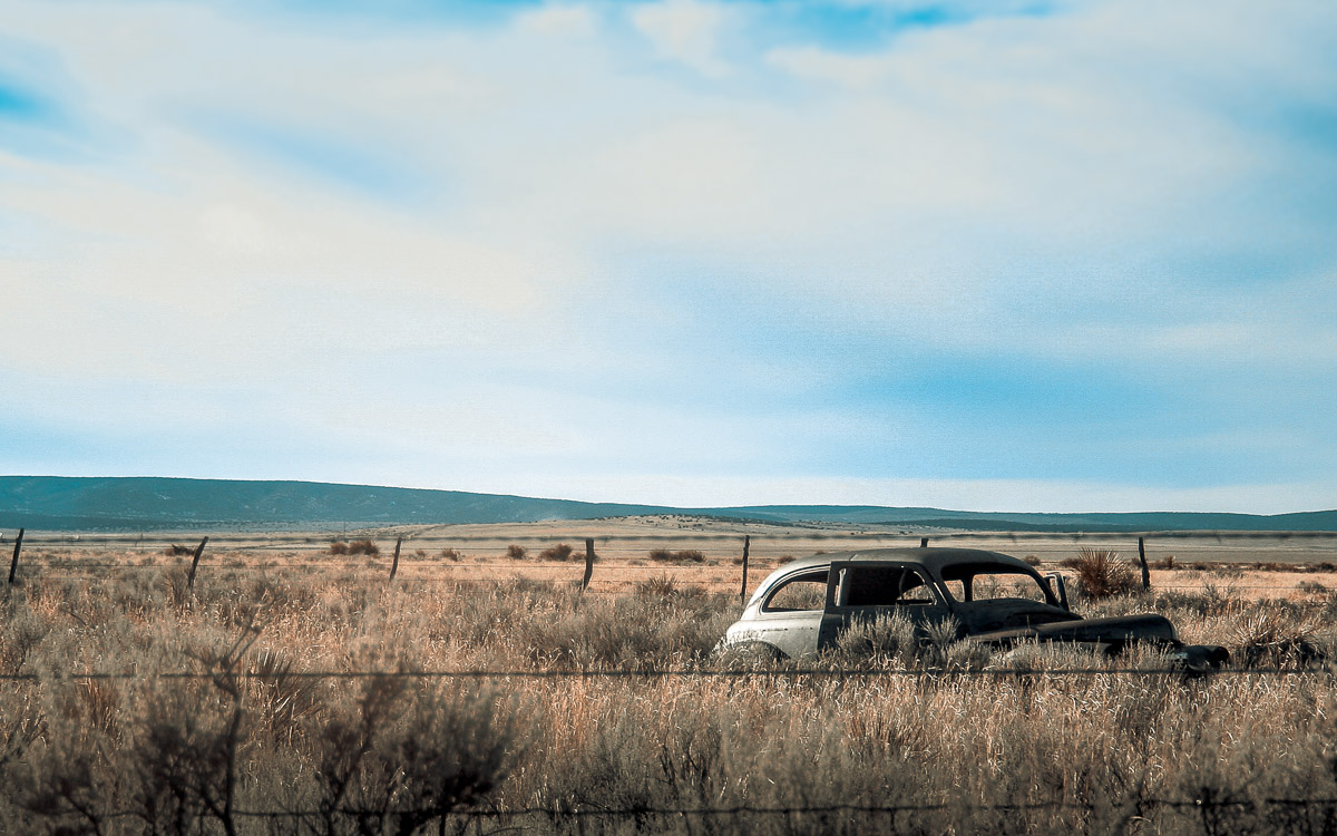 Photo: vintage car forgotten in a field, near Truth or Consequences, New Mexico