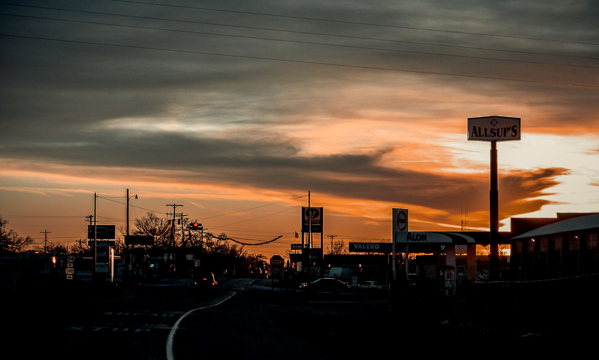 Photo: city roads at twilight near Santa Fe, New Mexico