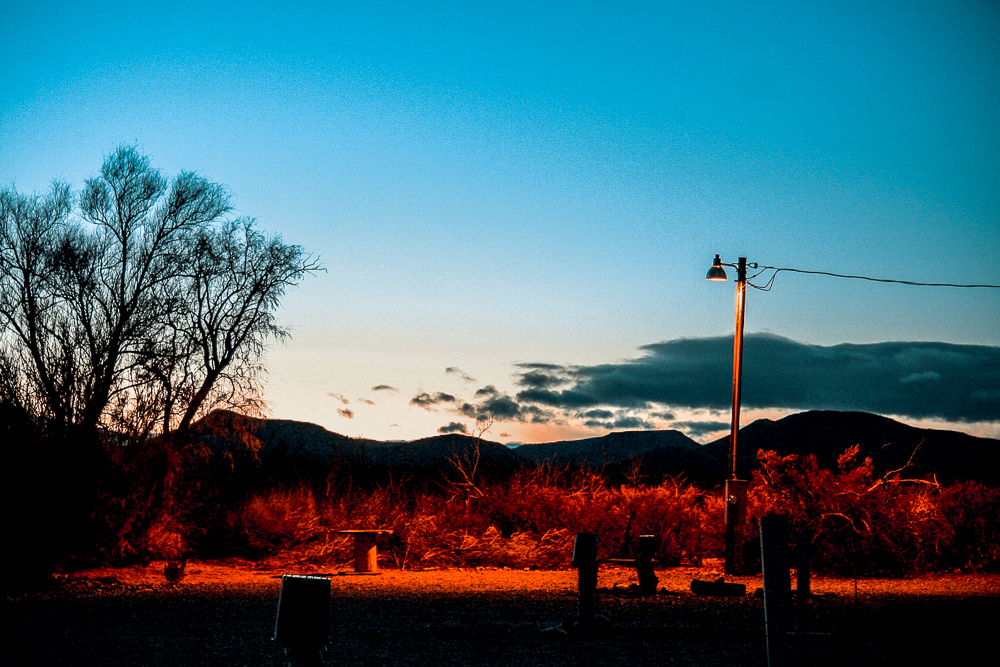 Photo: Dusk in the empty RV park, near San Antonio, New Mexico