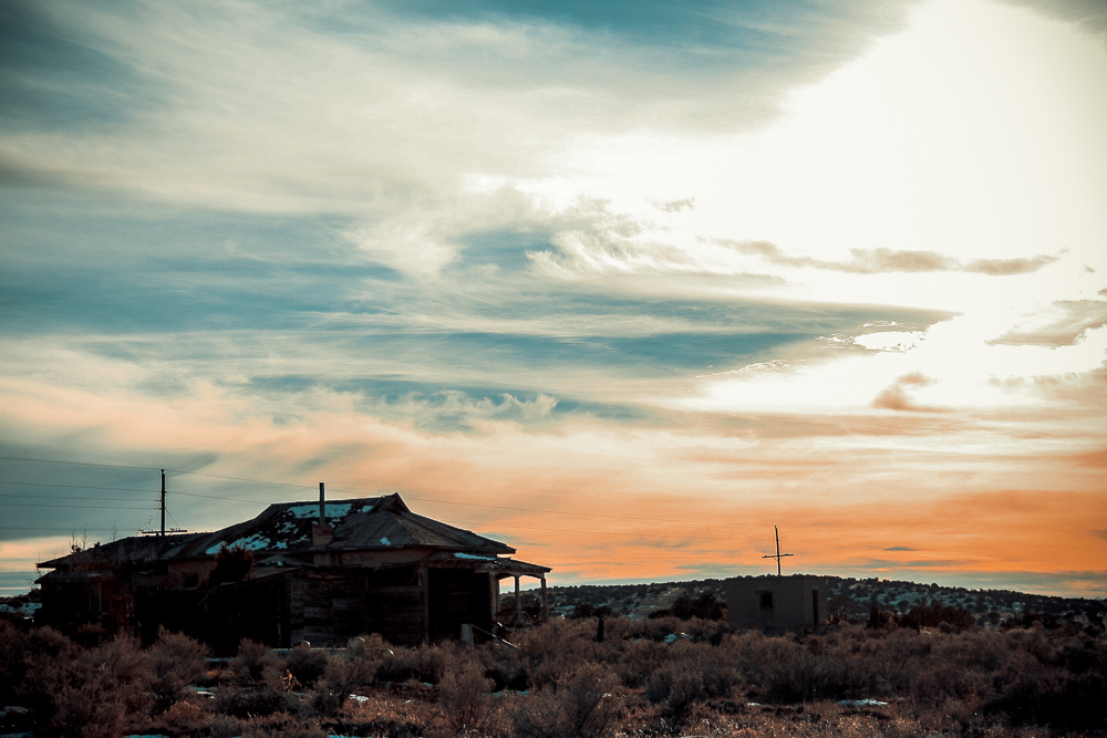 Photo: Memorial for a ghost town, Ancho, New Mexico